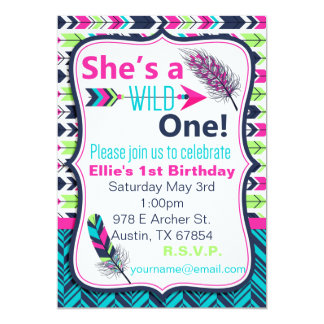 Tribal, Boho, Feather Wild One Birthday Invitation