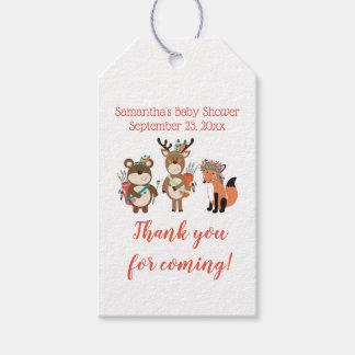 Tribal Boho Woodland Animals Baby Shower Gift Tag