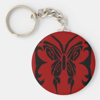 Tribal Butterfly red and black key Chain