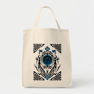Tribal cat with bluebirds 1 canvas bag