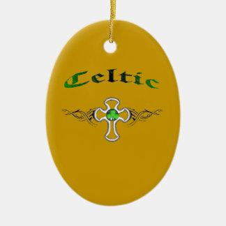 tribal celtic cross ceramic oval decoration