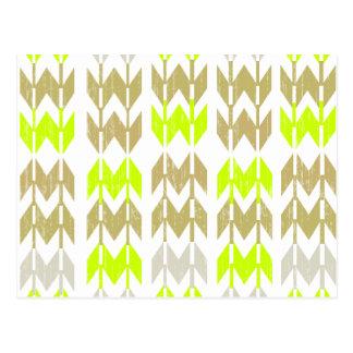 Tribal chevron geometric abstract neon pattern postcard