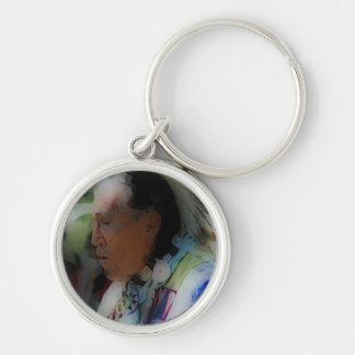 'Tribal Chief in Ceremony' Silver-Colored Round Key Ring