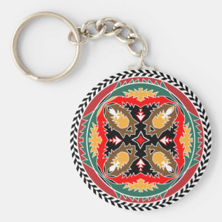 Tribal Christmas Forest Pine Cone Emblem Basic Round Button Key Ring