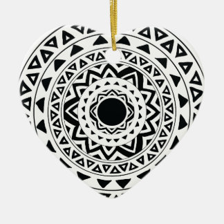 tribal Circle in Black Ceramic Ornament