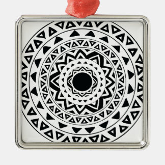 tribal Circle in Black Metal Ornament