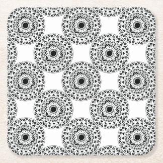 tribal Circle in Black Square Paper Coaster