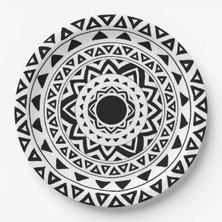 Tribal Circles Mandala in Black and White Paper Plate