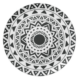 Tribal Circles Mandala in Black and White Plate