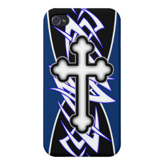 Tribal Cross Blue iPhone 4 Covers