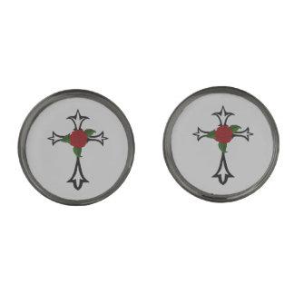 Tribal Cross Cufflinks Gunmetal Finish Cufflinks