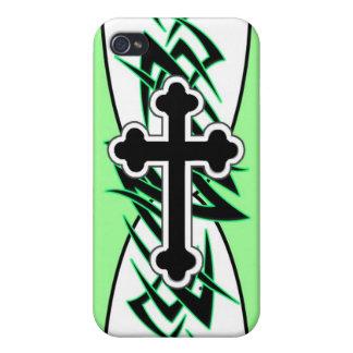 Tribal Cross Green iPhone 4 Covers