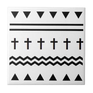 Tribal Cross Pattern Ceramic Tile
