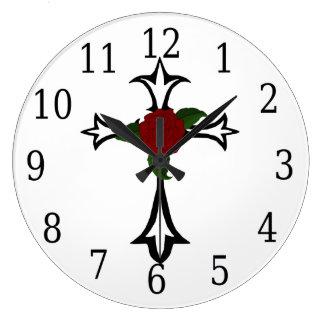 Tribal Cross Round Clock