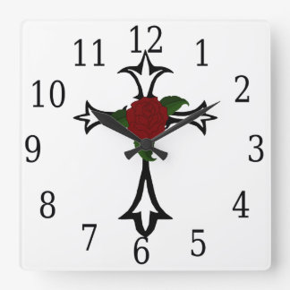 Tribal Cross Square Clock