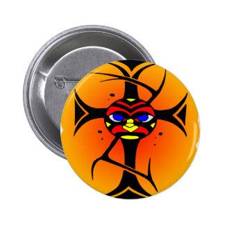 Tribal Cross Tattoo Face Maori Buttons