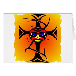 Tribal Cross Tattoo Face Maori Card