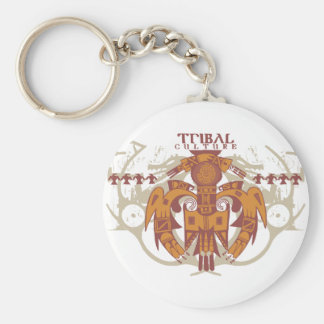 Tribal Culture Basic Round Button Key Ring