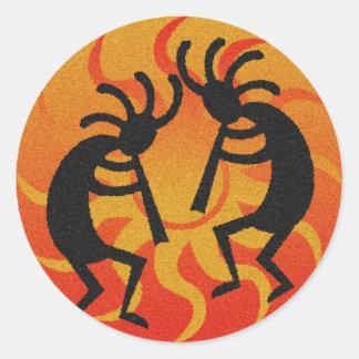 Tribal Desert Sun  Southwest Kokopelli Classic Round Sticker