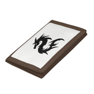 Tribal Dragon Silhouette Tri-fold Wallet