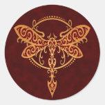 Tribal Dragonfly, Golden Red Round Sticker