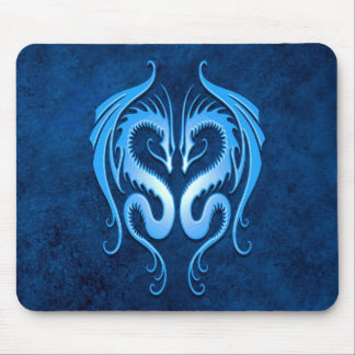 Tribal Dragons, blue Mouse Pad