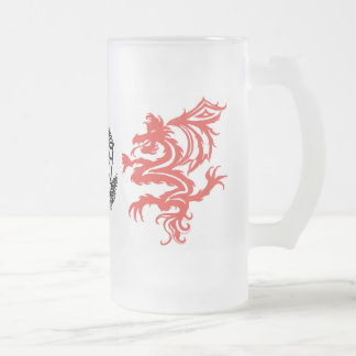 tribal dragons frosted glass beer mug