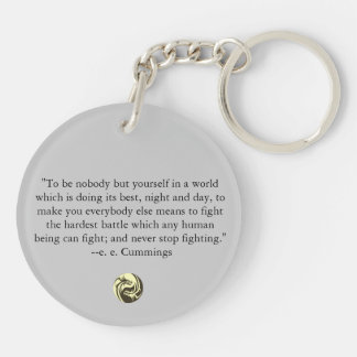 Tribal Dragons Yin Yang - ee Cummings Quote Double-Sided Round Acrylic Key Ring