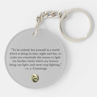 Tribal Dragons Yin Yang - ee Cummings Quote Key Ring