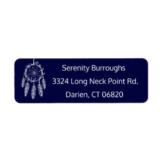 Tribal Dream Catcher Navy Blue Boho Feathers Return Address Label