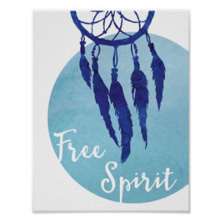 Tribal Dreamcatcher Art Free Spirit Watercolor Poster