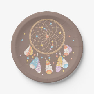 Tribal Dreamcatcher Boho Baby Brown Paper Plate