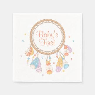 Tribal Dreamcatcher Boho Baby First 1st Birthday Disposable Serviettes