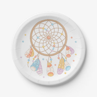 Tribal Dreamcatcher Boho Baby Paper Plate