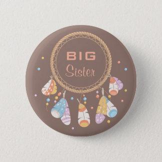 Tribal Dreamcatcher Boho Baby Shower Big Sister 6 Cm Round Badge