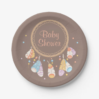 Tribal Dreamcatcher Boho Baby Shower Brown Paper Plate