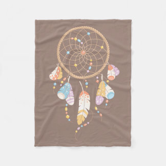 Tribal Dreamcatcher Boho Brown Fleece Blanket