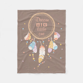 Tribal Dreamcatcher Boho Brown Quote Fleece Blanket