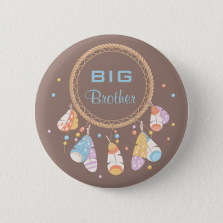 Tribal Dreamcatcher Boho New Baby Big Brother 6 Cm Round Badge