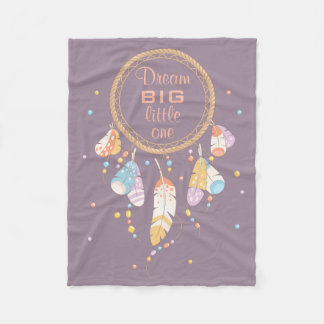 Tribal Dreamcatcher Boho Purple Quote Fleece Blanket