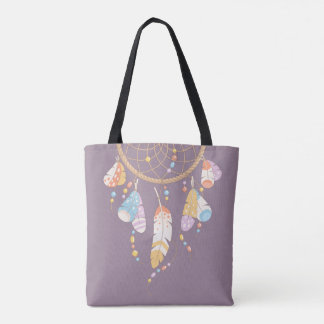 Tribal Dreamcatcher Boho Purple Quote Tote Bag