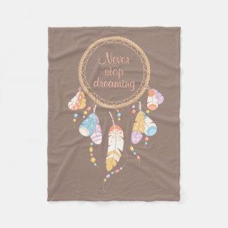 Tribal Dreamcatcher Boho Quote Brown Fleece Blanket
