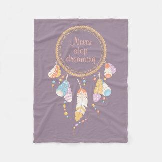 Tribal Dreamcatcher Boho Quote Purple Fleece Blanket