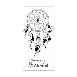 Tribal Dreamcatcher Never Stop Dreaming Quote Rubber Stamp
