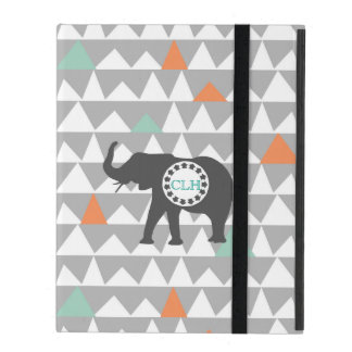 Tribal Elephant Aztec Andes Pattern Monogram Name iPad Folio Case