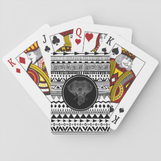 Tribal Elephant Aztec Pattern Black White Silver Playing Cards