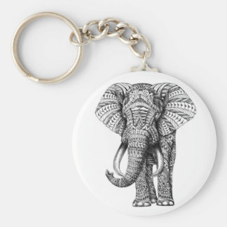 tribal elephant basic round button key ring