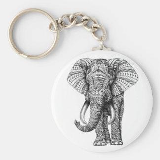 tribal elephant basic round button key ring
