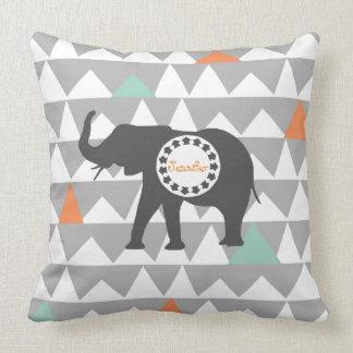 Tribal Elephants Aztec Andes Pattern Monogram Cushion