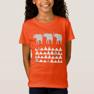 Tribal Elephants Chevrons Aztec Andes Pattern T-Shirt